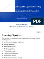 Lecture 12 Week 6 Pricing Decisions Profitability Analysis