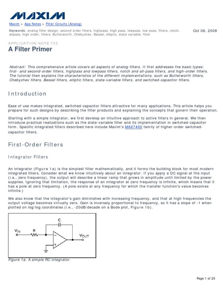 AN733 | Low Pass Filter | Electronic Filter