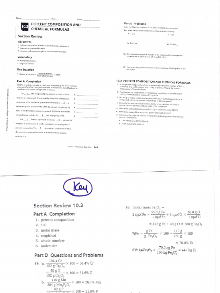 10 3 Percent Composition And Chemical Formulas Answers Key