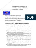 PLANO DE CURSO DE ENSINO RELIGIOSO DE 5º A 9º ANO DE 2013