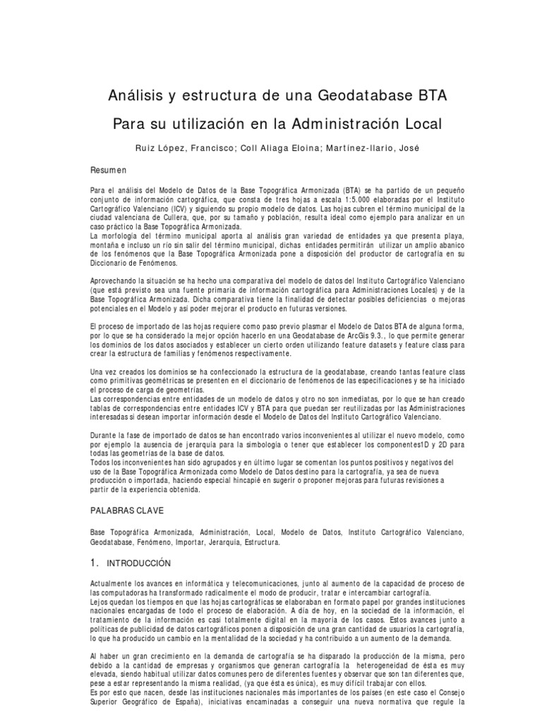 ID414 Analisis y Estructura de Una Geodatabase BTA