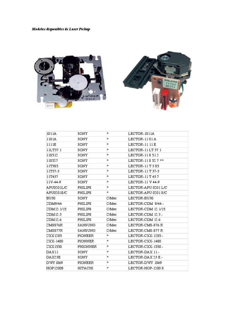 Modelos Disponibles de Laser Pickup