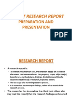 Market Research Report Preparation and Presentation Update