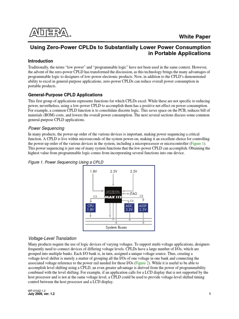 Altera Using Zero-Power CPLDs to Substantially Lower Power