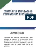 Pautas generales para presentación de informes de Laboratorio