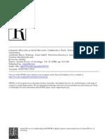 B. Wellman Et Alias, Computer Networks as Social Networks, 1996