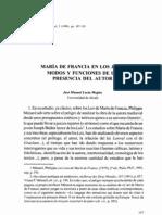 María de Francia en los Lais. Modos y Funciones de la Presencia del Autor