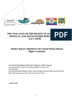 The Violation of the Rights of Lesbian, Gay, Bisexual and Transgender Persons in El Salvador, Shadow Report submitted to the United Nations Human Rights Committee (October 2010)