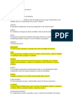 glossário com termos academicos