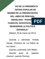 Esperanza Aguirre en la presentación del libro de Percival Manglano