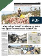 La Joya riega 10.000 hectareas agricolas con aguas contaminadas del río Chili