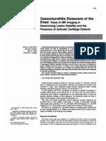 Osteochondritis Dissecans, MR Imaging