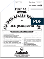 Test 8 Paper 1 JEE Main 2013