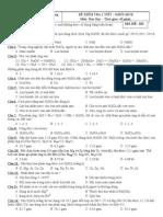 ĐỀ KIỂM TRA 1 TIẾT CHƯƠNG OXI - LƯU HUỲNH 2012 - 2013 MĐ 202
