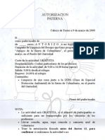 AUTORIZACION Sierra de Columbares 140309