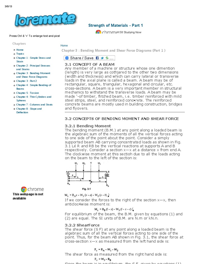Chapter 3 Bending Moment And Shear Force Diagrams Part 1 Draw For The Overhanging Beam Strength Of Materials Structure