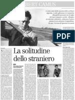 Albert Camus, La Solitudine Dello Straniero - Il Manifesto 22.03.2013