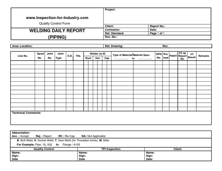 Piping Welding Daily Quality Control And Inspection Report