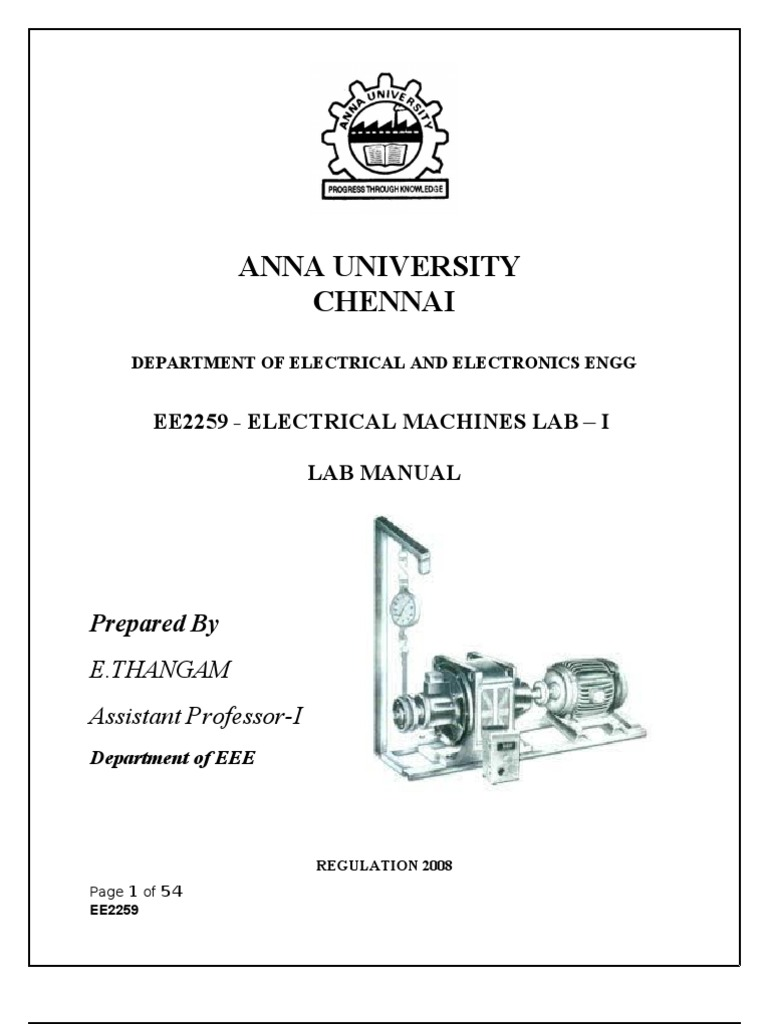ELECTRICAL MACHINES I LAB MANUAL.doc | Electric Generator | Electric Current