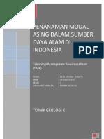 Penanaman Modal Asing Dalam Sumber Daya Alam Di Indonesia