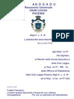 Balaustra Prot. GM 27-2012 Equinozio di Autunno