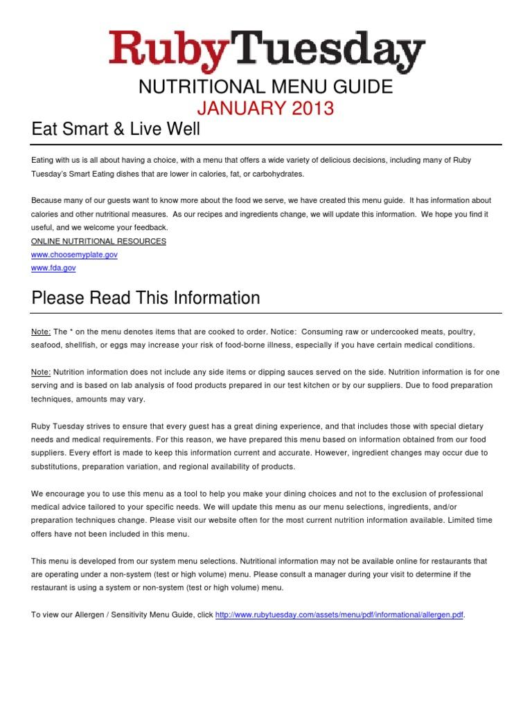 ruby nutrition pdf   Salad   Hamburgers