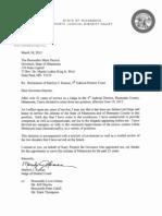 Letter to Governor Dayton