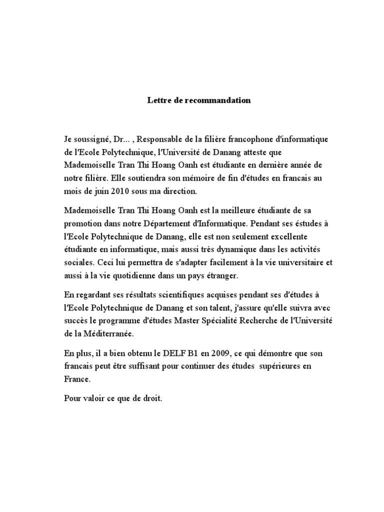 Exemple Lettre De Recommandation Pour Master - Le Meilleur Exemple