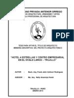 FAUA UPAO Memo Tesis Hotel 4E  Arq.Jahir Antinori, Docente Asesor Arq. Nelly Amemiya