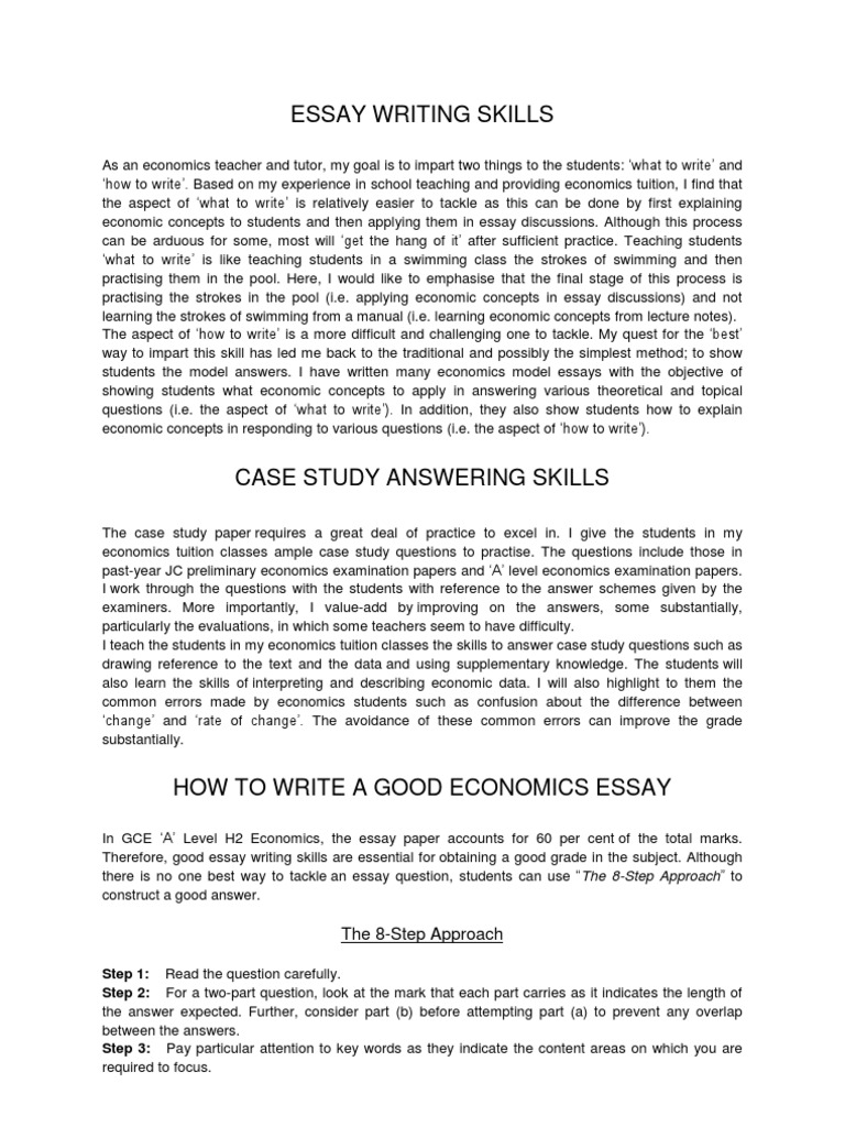 economics case study questions and answers