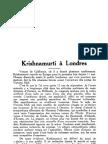 Krishnamurti à Londres, par Ram Linssen
