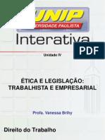 Ética e Legislação Trabalhista e Empresarial VI