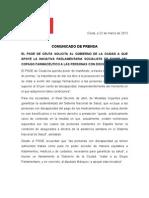 Psoe. Comunicado Prensa 22-03-13