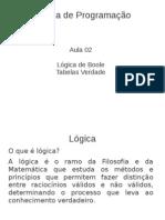 03 - Programacao Lógica de Boole - Tabelas Verdade