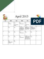 April Calendar 2013
