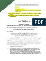 Ley Nº 261 Construcción e Implementación del Sistema de Transporte por Cable (Teleférico).doc