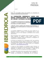 Fundacion Iberdrola Convoca Becas y Ayudas a La Inves