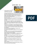 Highlights of Budget 13-14