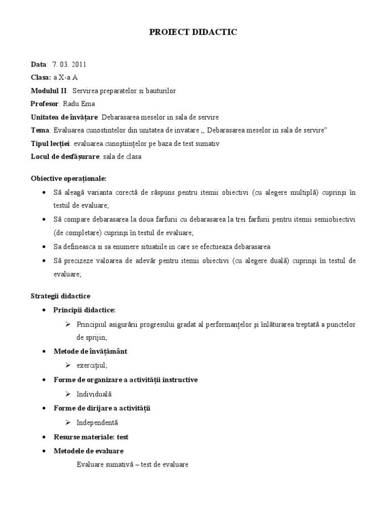 Proiect Didactic - Organizarea Activitatii in Unitatile de Alimentatie Publica (1)