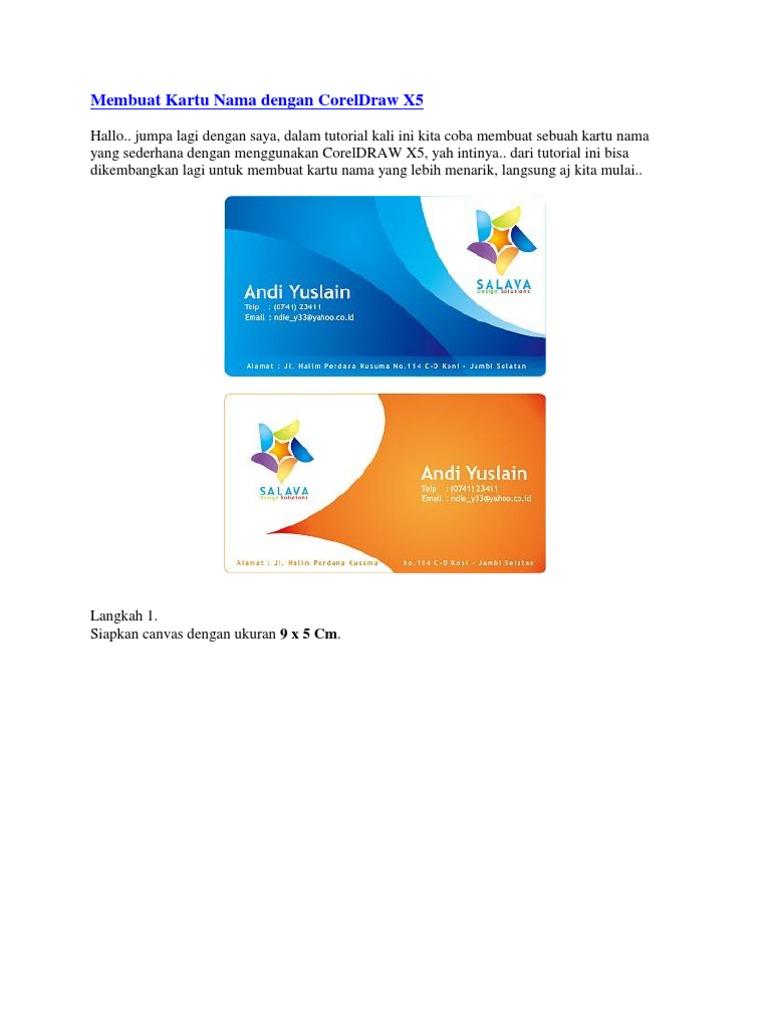 Cara Membuat Desain Kartu Nama Perusahaan Dengan Corel ...