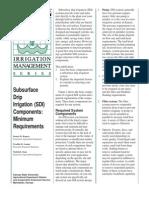 Subsurface Drip Irrigation (SDI) Components Minimum Requirements