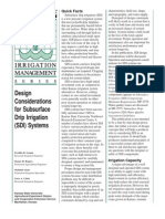 Design Considerations for Subsurface Drip Irrigation (SDI) Systems