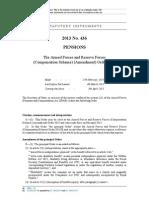Armed Forces and Reserve Forces (Compensation Scheme) (Amendment) Order 2013