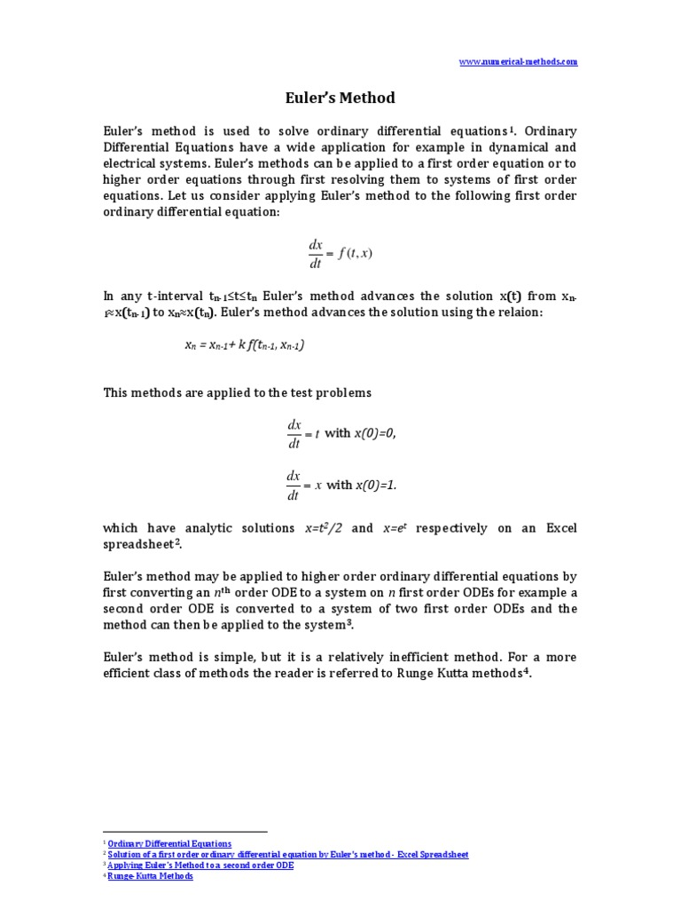 Solution Of A First Order Ordinary Differential Equation By Eulers