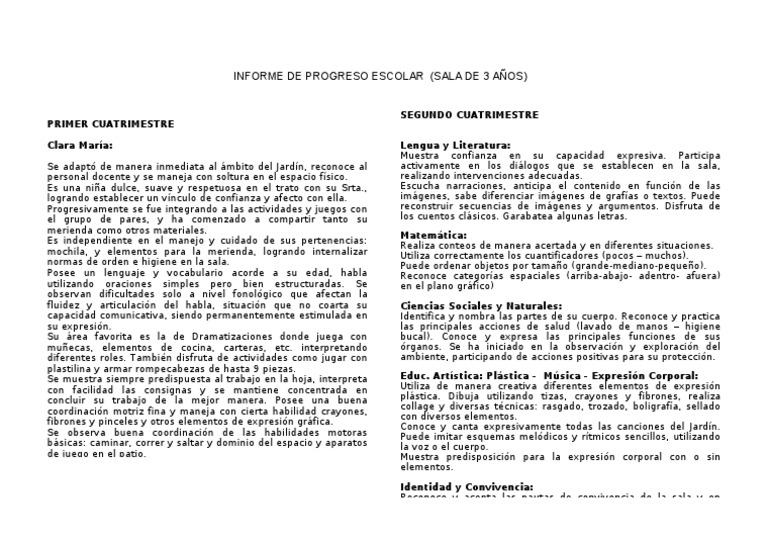 Modelo informe progreso sala de 3 for Adaptacion jardin maternal