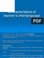Characteristics of Learner's Interlanguage