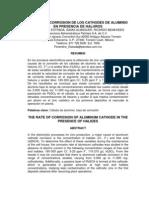 La Tasa de Corrosion de Los Catodos de Aluminio en Presencia de Haluros