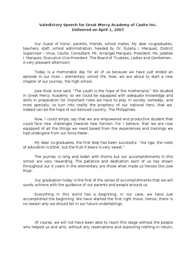 Elementary Valedictory Speech  PDF