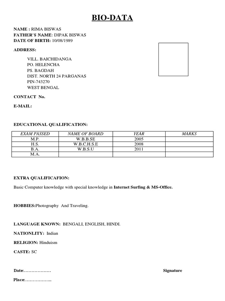 resume normal resume format doc download simple biodata format