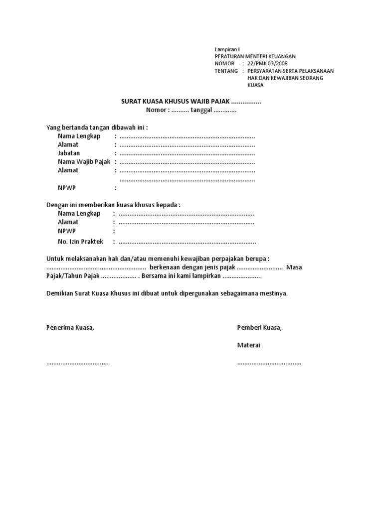 Surat Kuasa Dan Penunjukan Pegawai Penyampai Kewajiban